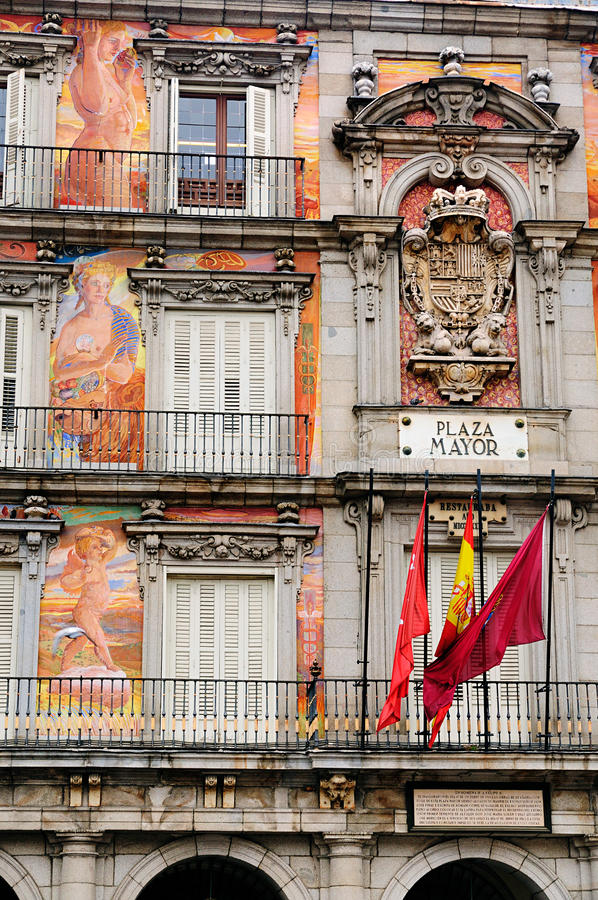 Frescoes on Plaza Mayor royalty free stock image