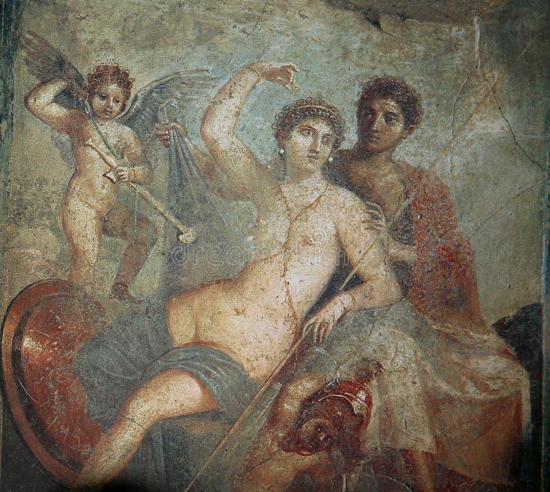 Frescoes in Pompeii ruines, Naples, Italy stock photography