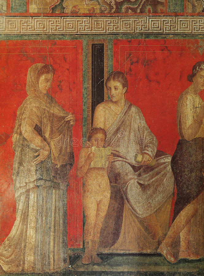 Frescoes in Pompeii ruines, Naples, Italy. Frescoes in the Ruins of the old city of Pompeii, near Naples, Italy royalty free stock photos