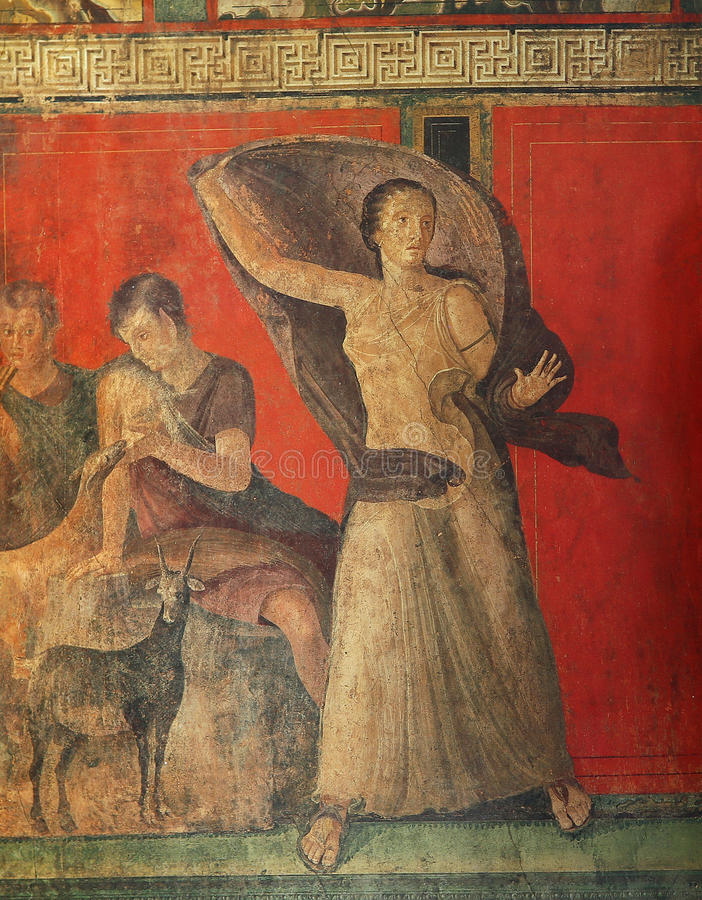 Frescoes in Pompeii ruines, Naples, Italy. Frescoes in the Ruins of the old city of Pompeii, near Naples, Italy stock images