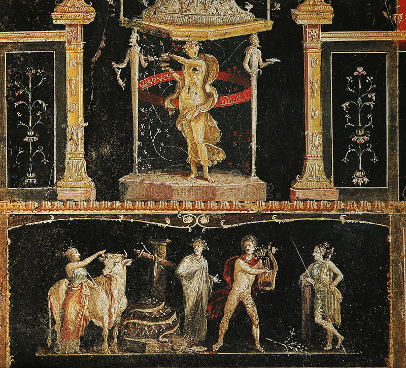 Frescoes in Pompeii ruines, Naples, Italy. Frescoes in the Ruins of the old city of Pompeii, near Naples, Italy royalty free stock photo