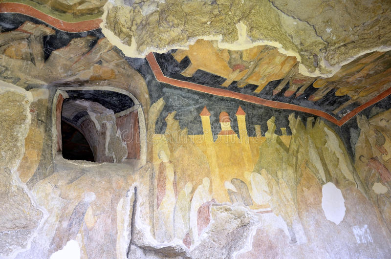 Frescoes in Rock-Hewn Churches of Ivanovo royalty free stock photo