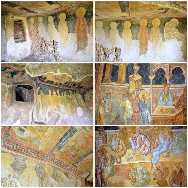 Frescoes in Rock-Hewn Churches of Ivanovo. In the valley of the Roussenski Lom River, complex of rock-hewn churches, chapels, monasteries and cells, Bulgaria royalty free stock images