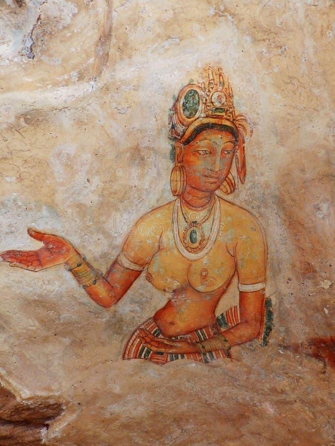 Frescoes at Sigiriya. Sri Lanka royalty free stock image
