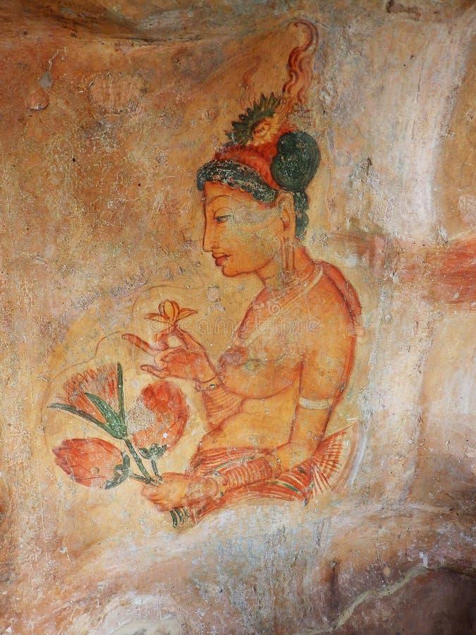 Frescoes at Sigiriya. Sri Lanka stock images