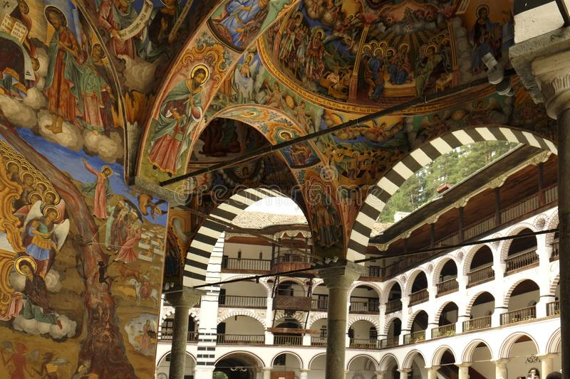 Frescoes under the arcades of the Rila monastery. It was founded by Saint Ivan John of Rila royalty free stock image