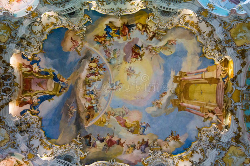 Frescoes of wieskirche church. World heritage wall and ceiling frescoes of wieskirche church in bavaria, Germany, Europe royalty free stock images