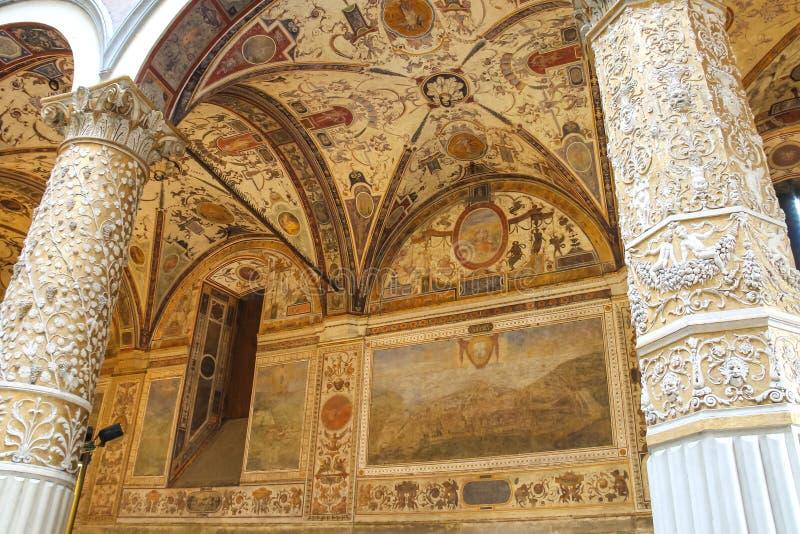 Frescoesgarnering i Palazzo Vecchio florence italy arkivbilder