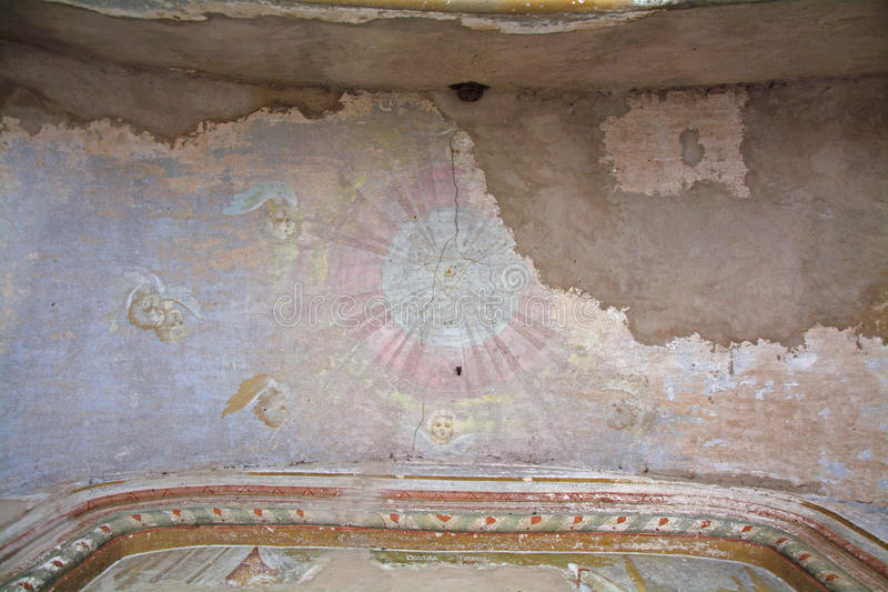 Frescos on a ceiling of Church of the Tikhvin icon of the Mother of God in Trinity Danilov monastery in Pereslavl-Zalessky, Russia stock photos