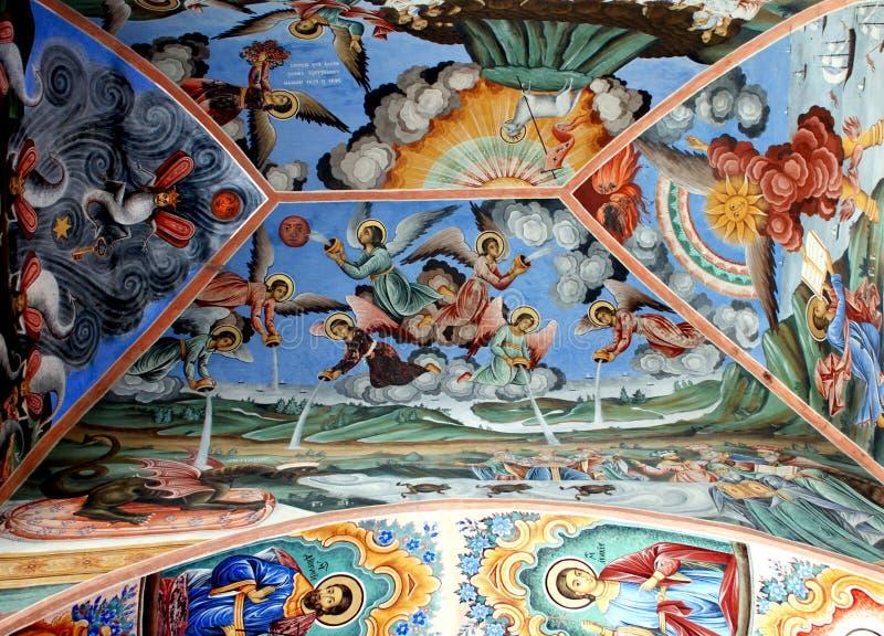 Frescos de la iglesia ortodoxa Monasterio de Rila, Bulgaria imagenes de archivo