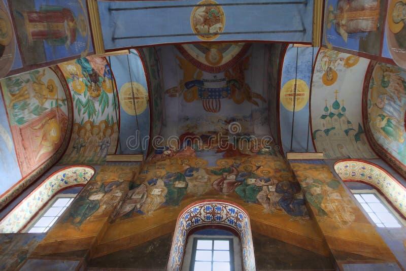 Frescos de la natividad de la catedral de la Virgen en el monasterio de Bogoliubovo, Rusia fotografía de archivo