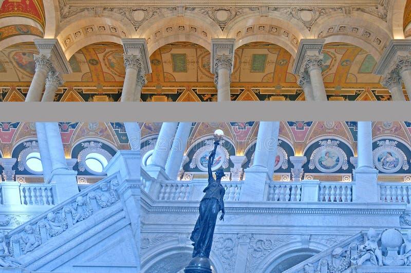 Frescos de mármol adornados de las escaleras fotografía de archivo