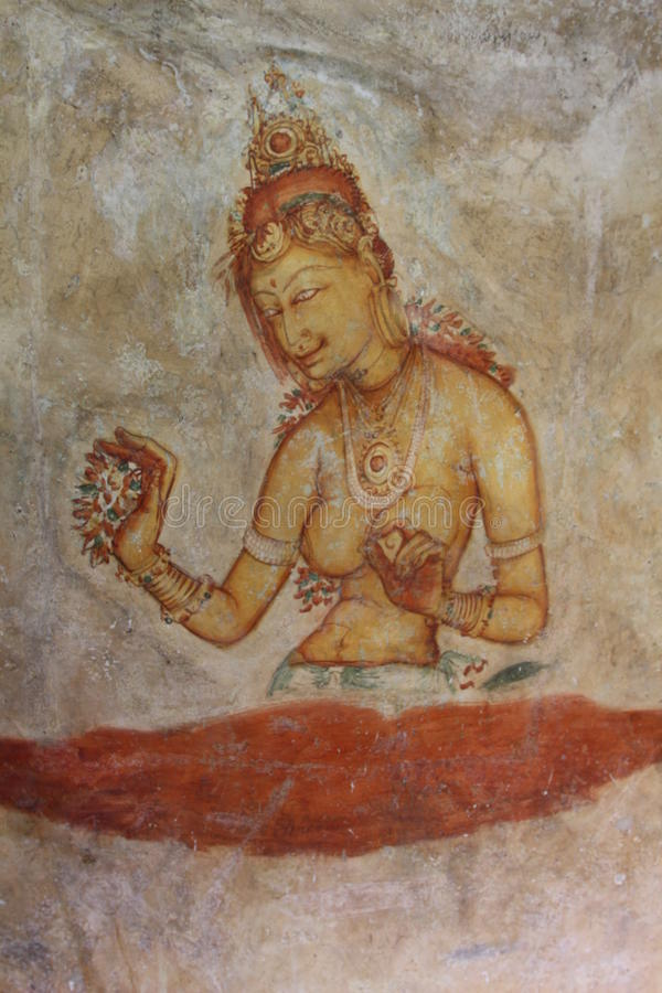 Frescos de Sigiriya fotografía de archivo
