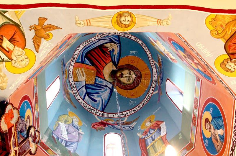 Frescos de un interior de la iglesia ortodoxa en Macedonia foto de archivo libre de regalías