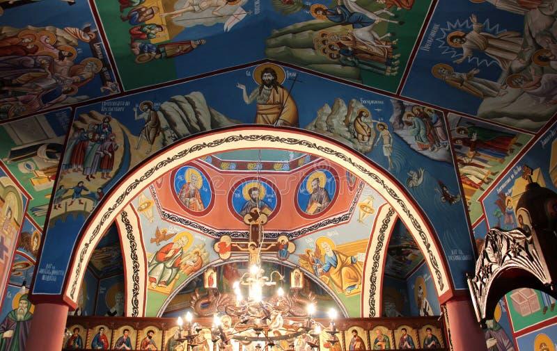 Frescos de un interior de la iglesia ortodoxa en Macedonia fotos de archivo