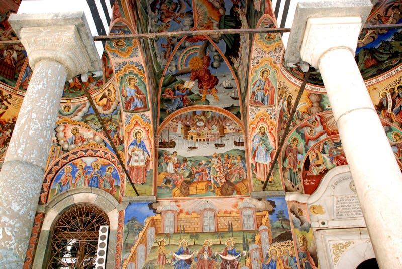 Frescos del monasterio de St. John de Rila foto de archivo libre de regalías
