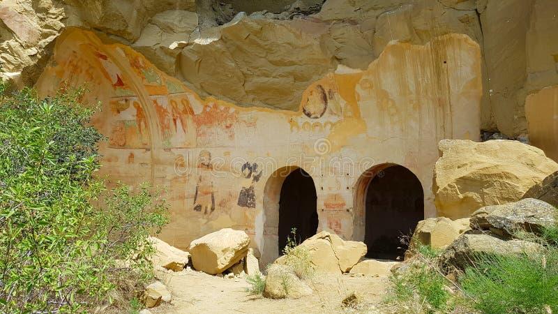 Frescos en el monasterio de David Gareja en Georgia foto de archivo libre de regalías