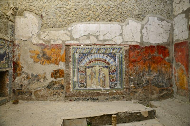 Frescos en la casa Neptunus, Herculano imágenes de archivo libres de regalías