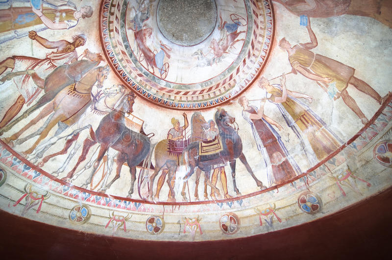 Frescos en la tumba del rey de Thracian fotografía de archivo libre de regalías