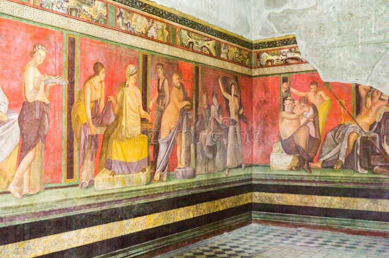 Frescos in the Villa of the Mysteries, Pompeii royalty free stock photos