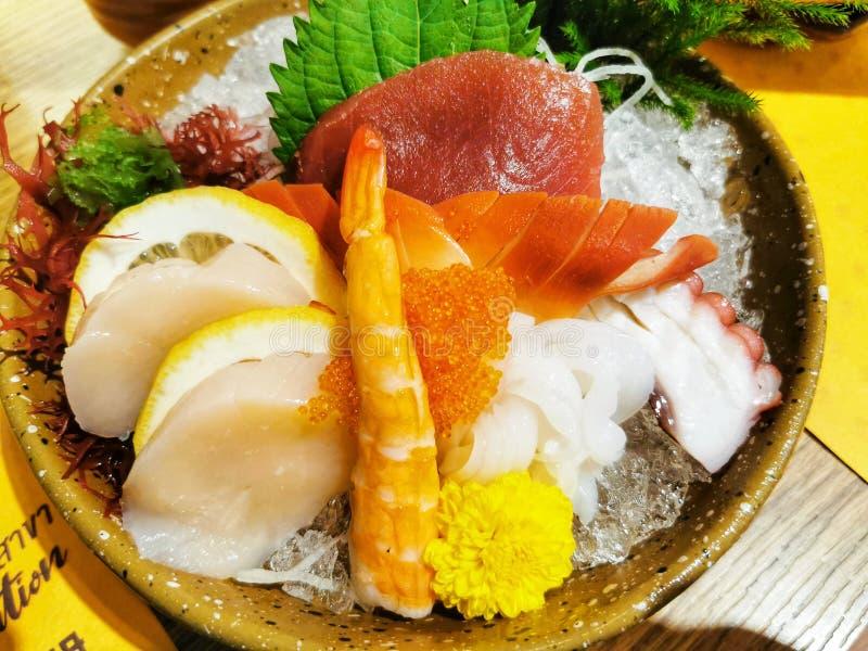 The fresh seafood raw fish Sashimi Japanese meal Restaurant in Bangkok Thailand royalty free stock images