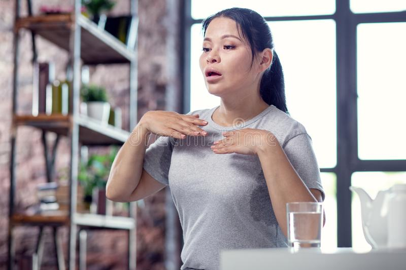 Stressed exhausted woman infecting with flu royalty free stock photos