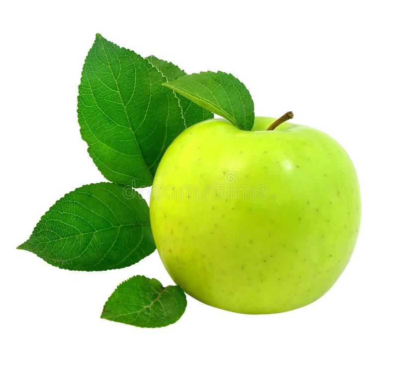Download Fresh Apple With Green Leafs Stock Photo - Image: 2782036