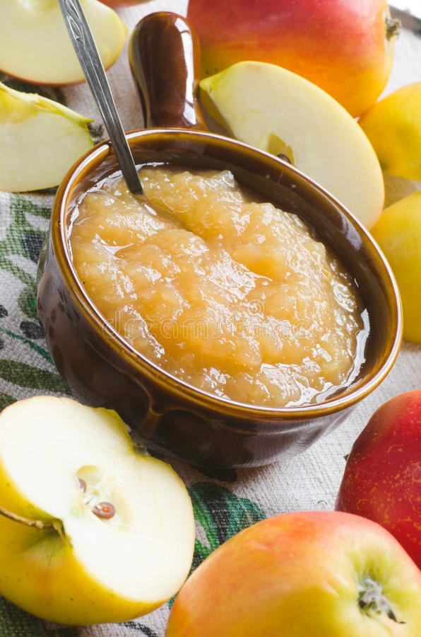 Fresh apples and apple jam royalty free stock images