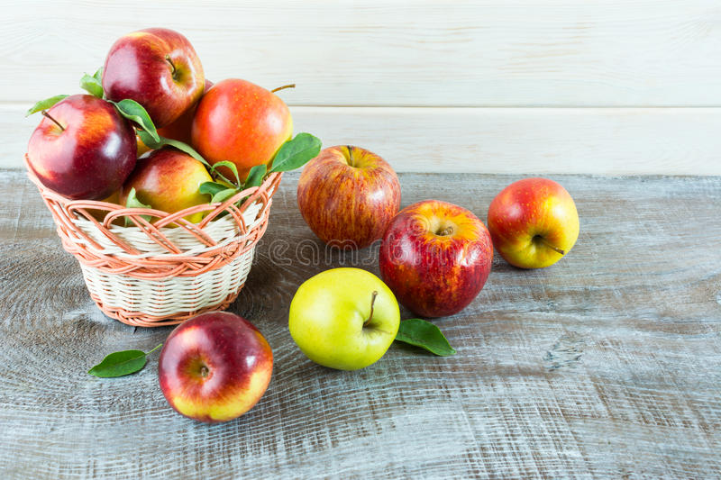 Fresh apples in the basket royalty free stock image