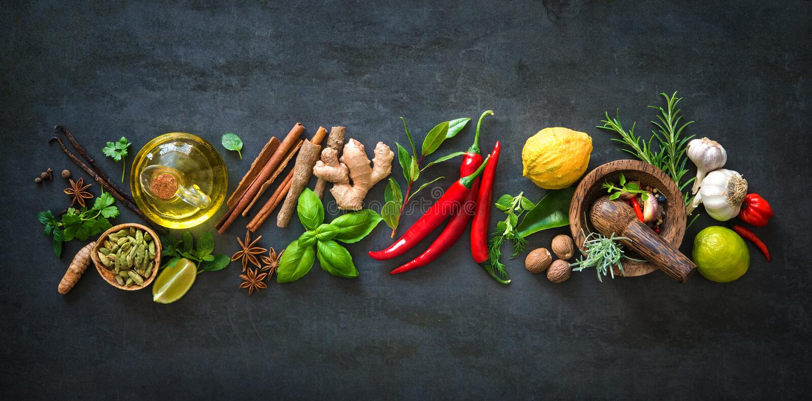Fresh aromatic herbs and spices for cooking stock photography