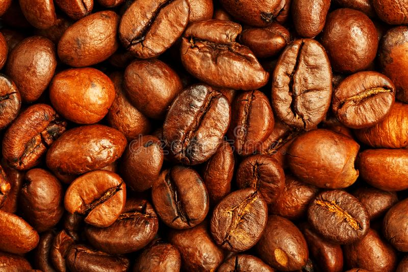 Fresh and aromatic roasted coffee beans, can be used as background stock image