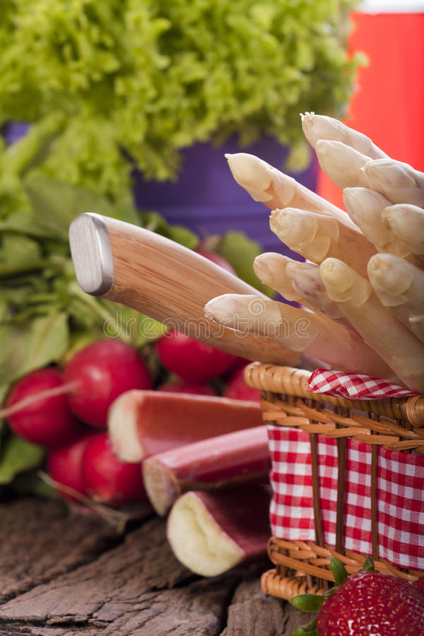 Fresh Asparagus In The Basket Royalty Free Stock Photo
