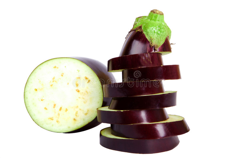 Fresh aubergine. / slices on the white background - isolated royalty free stock images