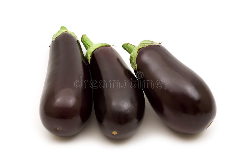 Fresh aubergine. On white background stock photo