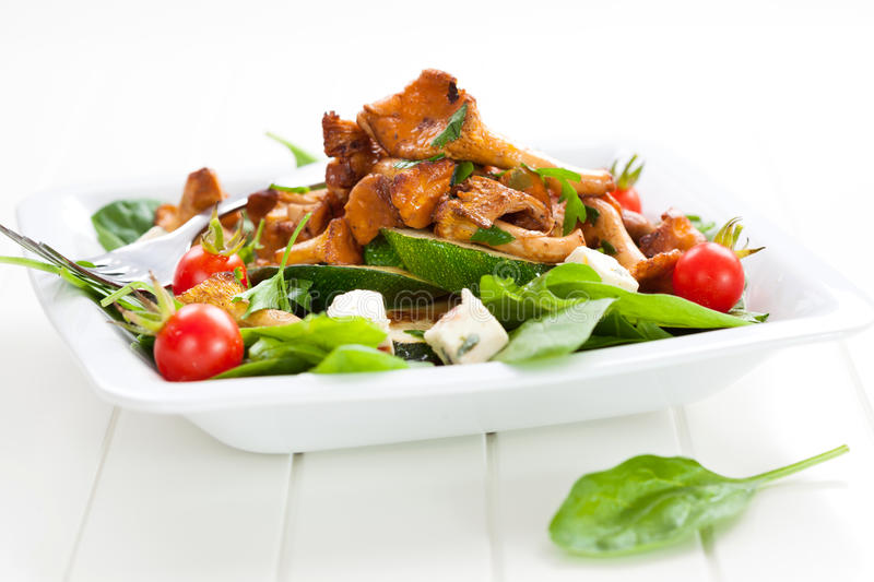 Download Fresh Baby Spinach With Roasted Chanterelle Stock Image - Image of healthy, fresh: 26032709