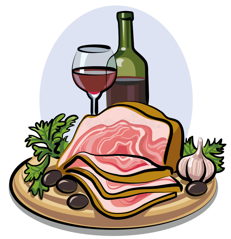 Download Fresh bacon and red wine stock illustration. Image of salty - 19857171
