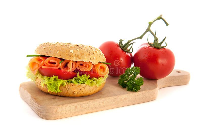 Fresh Bagel With Salmon Royalty Free Stock Image
