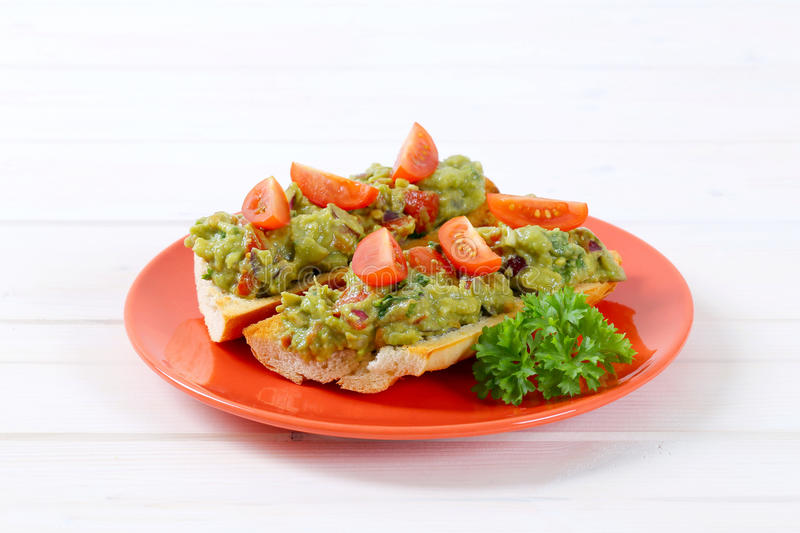 Download Fresh Baguettes With Guacamole Stock Photo - Image: 83710069