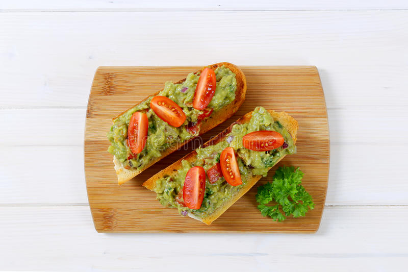 Download Fresh Baguettes With Guacamole Stock Photo - Image: 83709753