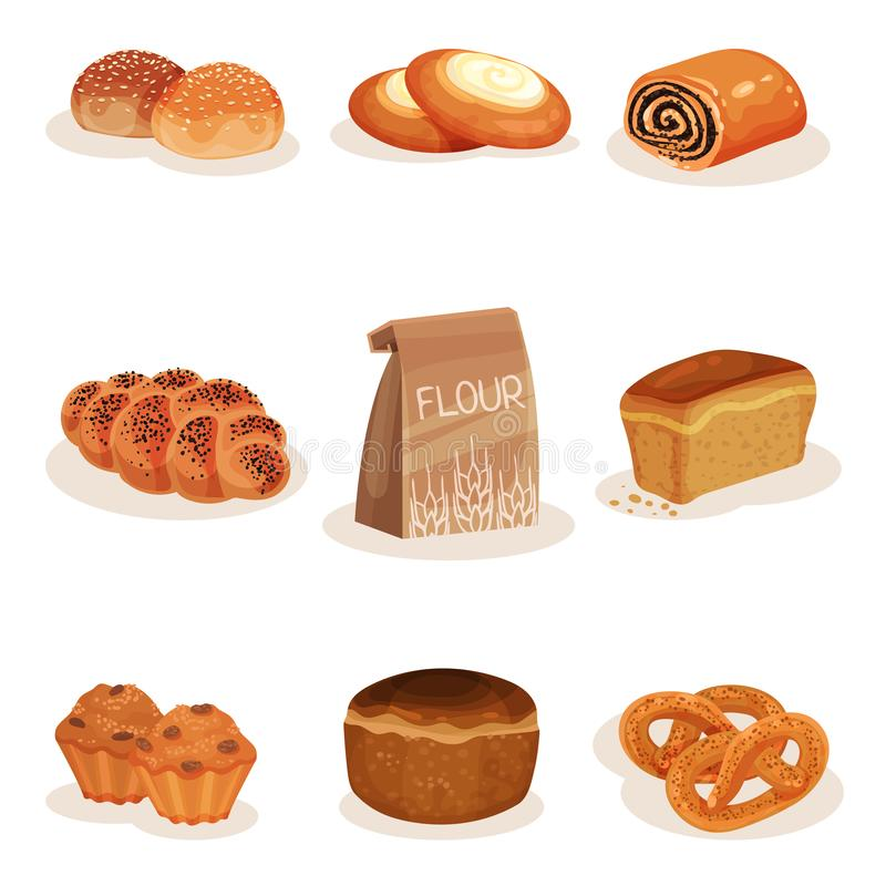 Fresh baked bread and bakery pastry products set, braided loaf, bun, cheesecake, pretzel muffins vector Illustration on vector illustration