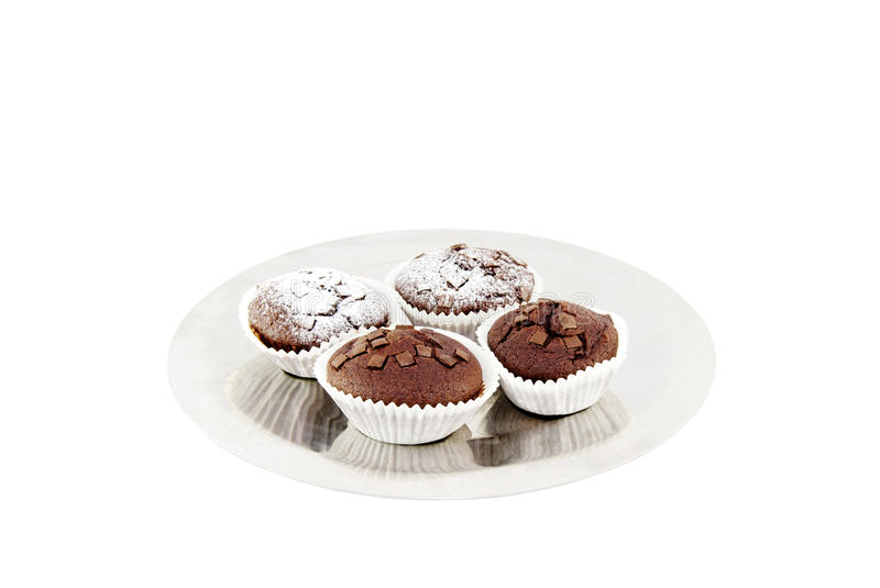Fresh baked chocolate muffins royalty free stock image