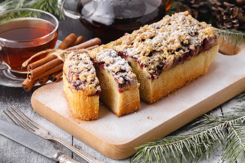 Fresh baked Christmas Stollen on a plate stock photo