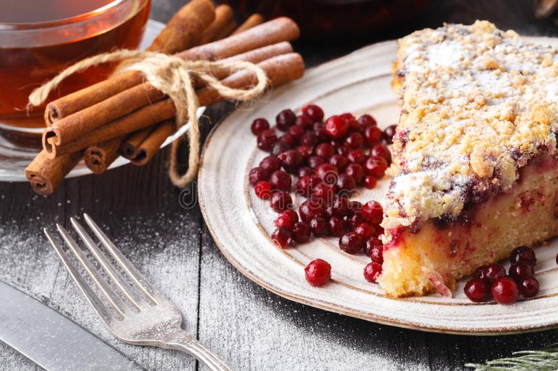 Fresh baked Christmas Stollen on a plate royalty free stock photo