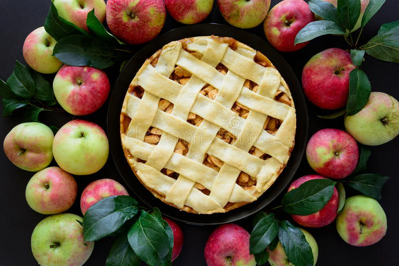 Fresh baked classic American apple pie with red ripe apples on dark wooden background. Top view. Copy space royalty free stock images