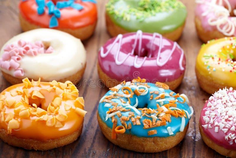 Fresh baked donuts stock photos