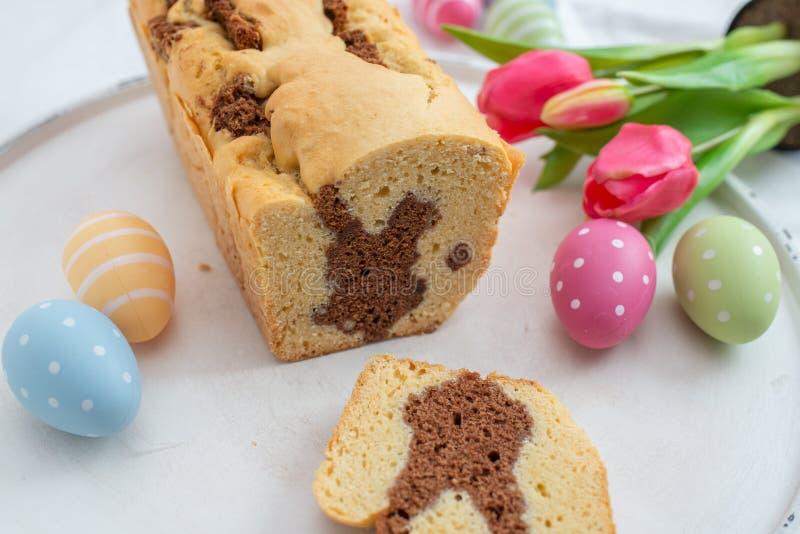 Fresh baked Easter Bunny Cake royalty free stock photo