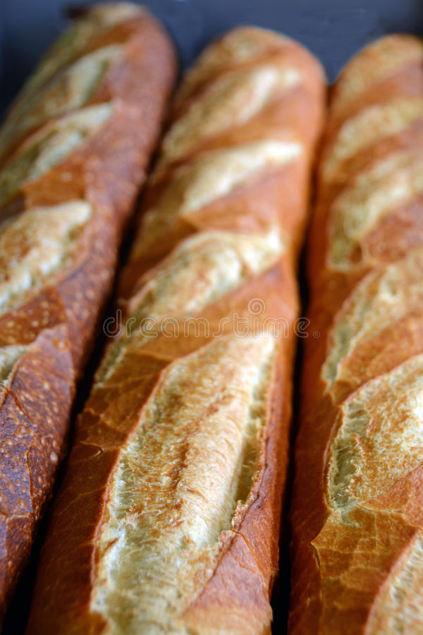 Fresh Baked French Loaves for Sale. stock image