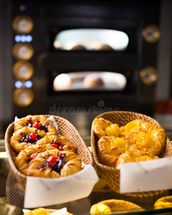 Fresh baked goods. In the bakery royalty free stock photography