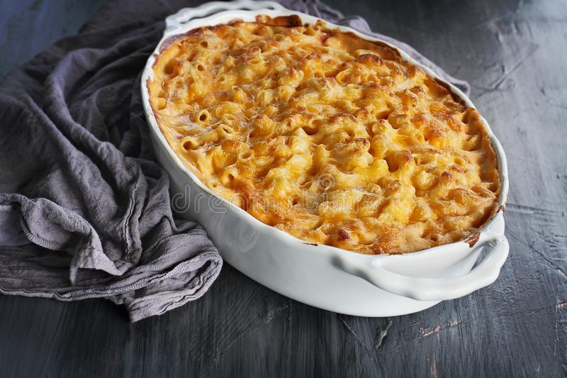 Fresh Baked Macaroni and Cheese stock photos