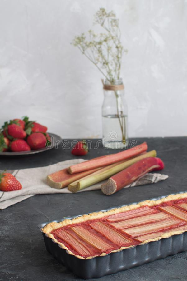 Fresh baked rhubarb cake stock image